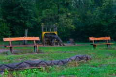 Editorial: 10.03.2018, Dusseldorf, Germany; Playground view on benches and slide royalty free stock photography