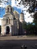 Editorial el Navity de la catedral ortodoxa Riga Letonia de Cristo Fotos de archivo libres de regalías