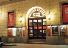Editorial entrance Piccolo Theater Milan Italy. MILAN, ITALY-SEPT. 26: The Piccolo Theater Teatro is seen at night in Milan, Italy on September 26, 2016 Royalty Free Stock Photography