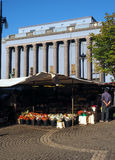 Editorial flower market by Konserthuset Stockholm Sweden. STOCKHOLM-SEPT. 7: Vendor stall selling flowers at outdoor flower market by Konserthuset in Stockholm Stock Photography