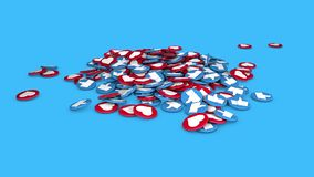 Editorial footage: 3D animation of a falling social network likes on surface. vector illustration