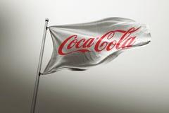 Editorial fotorrealista de la bandera de la Coca-Cola imágenes de archivo libres de regalías