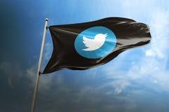 Editorial fotorrealista de la bandera de Twitter fotos de archivo