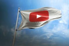 Editorial fotorrealista de la bandera de YouTube imagenes de archivo