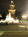 Editorial fountain night Sforza Castle Milan Italy Stock Images