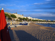 Editorial French Riviera beach surrounded  hotels Cannes France Stock Images