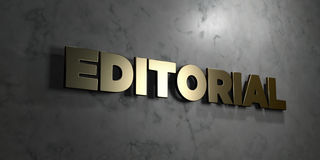 Editorial - Gold sign mounted on glossy marble wall  - 3D rendered royalty free stock illustration Royalty Free Stock Image