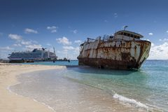 Shipwreck on Turks and Caicos Islands in the Caribbean stock photography