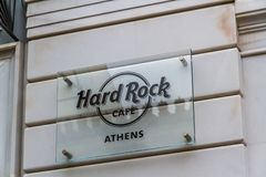 Editorial, Hard Rock Cafe Sign, Athens royalty free stock photo