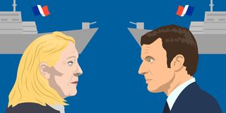 Political leaders topic. 02.12.2017 Editorial illiustration of the French Republic President Emmanuel Macron and the French politician Marine Le Pen on military Stock Photo