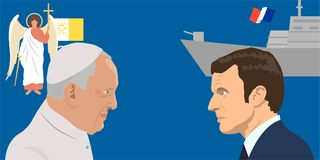 Political leaders topic. 02.12.2017 Editorial illiustration of the French Republic President Emmanuel Macron and Pope Francisco on military forces background vector illustration