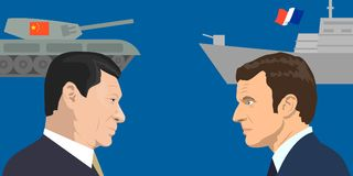 Political leaders topic. 02.12.2017 Editorial illiustration of the French Republic President Emmanuel Macron and the President of People s Republic of China Xi Stock Image