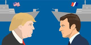 Political leaders topic. 02.12.2017 Editorial illiustration of the French Republic President Emmanuel Macron and the USA President Donald Trump on military Stock Image