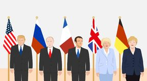 Political leaders theme. 03.12.2017 Editorial illustration of the French President Macron, the USA President Trump, the Russian President Putin, the Prime Stock Photo