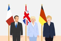 Political leaders theme. 03.12.2017 Editorial illustration of the President of France Emmanuel Macron, the Prime Minister of the United Kingdom Theresa May and Stock Photography