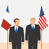 Political leaders theme. 03.12.2017 Editorial illustration of the President of France Emmanuel Macron and the USA President Donald Trump on countries flags Stock Image