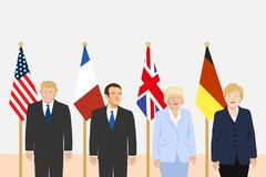 Political leaders theme. 03.12.2017 Editorial illustration of the President of France Emmanuel Macron, the USA President Donald Trump, the Prime Minister of the Stock Photo