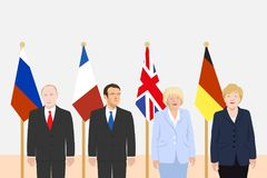 Political leaders theme. 03.12.2017 Editorial illustration of the President of France Macron, the Russian President Putin, the Prime Minister of the UK May and Royalty Free Stock Image