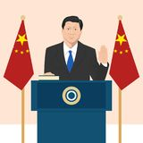 Political leaders topic. 02.12.2017 Editorial illustration of the President of People s Republic of China Xi Jinping that is taking an oath on French flag Stock Photography