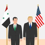 Political leaders theme. 03.12.2017 Editorial illustration of the President of Syria Bashar Al-Assad and the USA President Donald Trump on flags background Stock Images