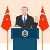 Political leaders topic. 02.12.2017 Editorial illustration of the President of Turkey Recep Erdogan that is taking an oath on Turkish flag background Royalty Free Stock Photo
