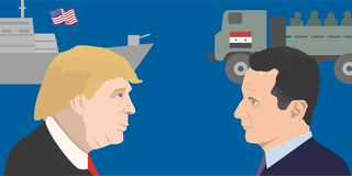 World leadres topic. 02.12.2017 Editorial illustration of the President of the USA Donald Trump and Bashar Asad portraits. USA and Syria relations Stock Images