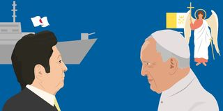 World leaders theme. 07.12.2018 Editorial illustration of the Prime Minister of Japan Shinzo Abe and Pope Francisco on blue background with forces Stock Image