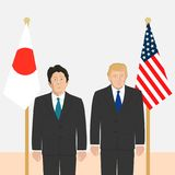 Political leaders theme. 03.12.2017 Editorial illustration of the Prime Minister of Japan Shinzo Abe and the USA President Donald Trump on flags background Royalty Free Stock Images