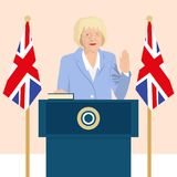 Political leaders topic. 02.12.2017 Editorial illustration of the Prime Minister of the United Kingdom Theresa May that is taking an oath on Great Britain flag Stock Photo