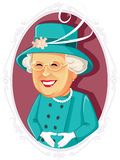 Queen Elizabeth II Editorial Vector Caricature. Editorial illustration of the Queen of the United Kingdom and the other Commonwealth realms vector illustration