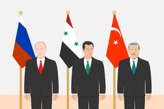 Political leaders theme. 03.12.2017 Editorial illustration of the Russian Federation President Vladimir Putin, the President of Syria Bashar Al-Assad and the Royalty Free Stock Photography