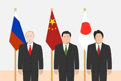 Political leaders theme. 03.12.2017 Editorial illustration of the Russian Federation President Vladimir Putin, the Prime Minister of Japan Shinzo Abe and the Stock Photos
