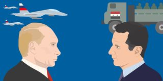 World leadres topic. 02.12.2017 Editorial illustration of Vladimir Putin and Bashar Asad portraits. Russia and Syria relations Royalty Free Stock Images