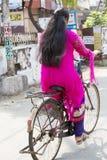 Editorial illustrative image. Cycle transportation in India. Illustrative image. Pondicherry, Tamil Nadu, India - Marsh 02, 2014. The main transportation way in Stock Images