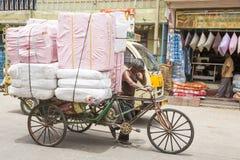 Editorial illustrative image. Cycle transportation in India. Illustrative image. Pondicherry, Tamil Nadu, India - Marsh 02, 2014. The main transportation way in Royalty Free Stock Photos