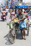 Editorial illustrative image. Cycle transportation in India. Illustrative image. Pondicherry, Tamil Nadu, India - Marsh 02, 2014. The main transportation way in Stock Photography