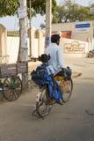 Editorial illustrative image. Cycle transportation in India. Illustrative image. Pondicherry, Tamil Nadu, India - Marsh 02, 2014. The main transportation way in Royalty Free Stock Images