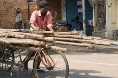 Editorial illustrative image. Cycle transportation in India. Illustrative image. Pondicherry, Tamil Nadu, India - Marsh 02, 2014. The main transportation way in Stock Photos