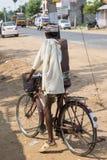 Editorial illustrative image. Cycle transportation in India. Illustrative image. Pondicherry, Tamil Nadu, India - Marsh 02, 2014. The main transportation way in Stock Image
