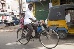 Editorial illustrative image. Cycle transportation in India Stock Photos