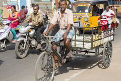 Editorial illustrative image. Cycle transportation in India Royalty Free Stock Images