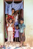 Editorial illustrative image. Family meeting in India. Illustrative image. Pondichery, Tamil Nadu, India. June 15, 2014. Family meeting in the street in park Stock Photos