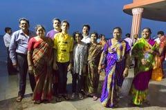 Editorial illustrative image. Family meeting in India. Illustrative image. Pondichery, Tamil Nadu, India. June 15, 2014. Family meeting in the street in park Stock Images