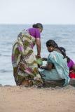 Editorial illustrative image. Family meeting in India. Illustrative image. Pondichery, Tamil Nadu, India. June 15, 2014. Family meeting in the street in park Royalty Free Stock Image