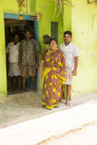Editorial illustrative image. Family meeting in India. Illustrative image. Pondichery, Tamil Nadu, India. June 15, 2014. Family meeting in the street in park Royalty Free Stock Photography