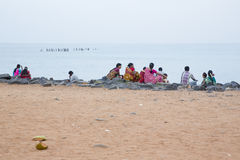 Editorial illustrative image. Family meeting in India. Illustrative image. Pondichery, Tamil Nadu, India. June 15, 2014. Family meeting in the street in park Stock Image