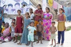Editorial illustrative image. Family meeting in India. Illustrative image. Pondichery, Tamil Nadu, India. June 15, 2014. Family meeting in the street in park Stock Photo