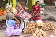 Editorial illustrative image. Food market in India Royalty Free Stock Images