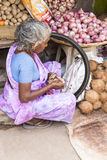 Editorial illustrative image. Food market in India Stock Images
