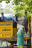 Editorial illustrative image. Household waste. Illustrative image. Pondicherry, Tamil Nadu, India - March 03, 2014. Household waste pastic pick up in the village royalty free stock images